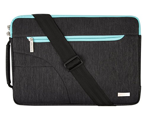 MOSISO Laptop Shoulder Bag Compatible 15 Inch New MacBook Pro with Touch Bar A1990 & A1707 2018 2017 2016, 14 Inch ThinkPad Chromebook, Polyester Briefcase Handbag Sleeve Case Cover, Black & Hot Blue