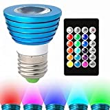 Hitlights Dimmable RGB LED Bulb , 3Watt Color Changing Light Bulb , Includes 24 Key Remote with 16 Colors and 8 Functions for Bedrooms Party Home Decorations (MR16 E26 Bas)
