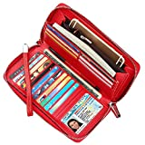 Lavemi Women's RFID Blocking Real Leather Zip Around Wallet Clutch Large Travel Purse Wristlet(Large Size Pebble Red)