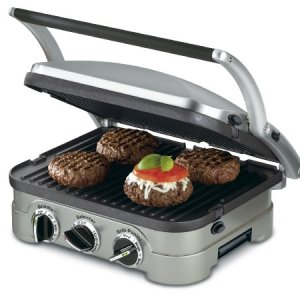 "Cuisinart GR-4NP1 5-in-1 Griddler, 13.5""(L) x 11.5""(W) x 7.12""(H), Silver With Silver/Black Dials 3"