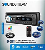 Soundstream DX-30BT Car CD MP3 Player USB AUX SD Card Inputs Single DIN Stereo Receiver with Built-in Bluetooth Hands-Free Calling Music Streaming AM FM Radio Remote Control Detachable Faceplate