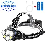 Headlamp Flashlight,4400mAh High Power Battery 6 Head lamps USB brightest Rechargeable Headlight 12000 lumen Waterproof 8 Modes for outdoor camping (6led)