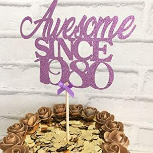 Awesome since 1980 Glittery Card Cake Topper. 40th Birthday Cake Centrepiece. 51jIJsnp2dL