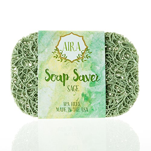 Aira Soap Saver - Soap Dish & Soap Holder Accessory - BPA Free Shower & Bath Soap Holder - Drains Water, Circulates Air, Maximizes Soap Life - Easy to Clean, Fits All Soap Dish Sets - Sage