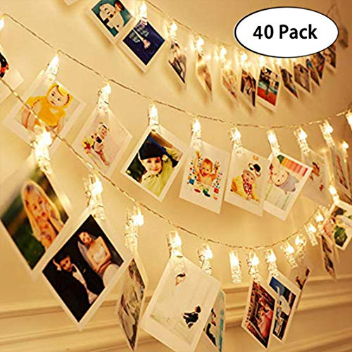 Welshoppy String Lights with 40 LED Lights Clips Hold Photos Pictures Post Cards for Tree Dorm Bedroom Indoor Wedding Camping Outside Party(Battery Operated)