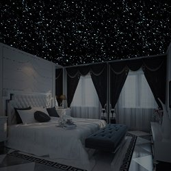 Realistic 3D Domed Glow in The Dark Stars,606 Dots for Starry Sky, Perfect for Kids Bedding Room Gift(606 Stars) (Sky Blue)