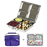 PlanetBox LAUNCH Eco-Friendly Stainless Steel Bento Lunch Box with 3 Compartments for Adults and Kids - Purple Carry Bag with Flora Fun Magnets