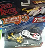 HOT WHEELS RACER X VS. MACH 6 FUJI HELEXICON EXCLUSIVE RACE-WRECKED RACER X RACE CAR WITH 2 MOVIE ACCESSORIES NIB