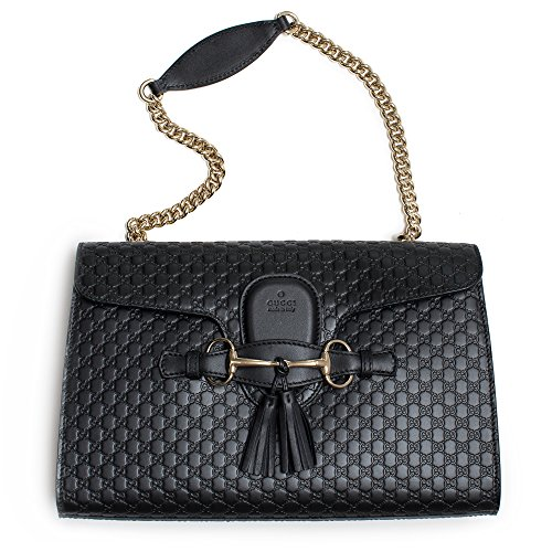 """51jQbhZdmqL New with Tags, Style 449635 (Emily), Black Calf Leather Heat Embossed Micro GG Guccissima Pattern, Golden Chain Shoulder Strap with a 10"""" Drop Light Golden Hardware, Leather Tassels and Horsebit Accents, Interior Open Pocket"""