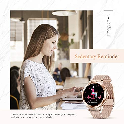 """GOKOO Smart Watch for Women Bluetooth Fitness Tracker with Heart Rate Sleep Blood Pressure Monitor Calories Pedometer Sports Activity Tracker Smartwatchs IP67 Waterproof 1.09"""" Full Touch (Gold) 6"""