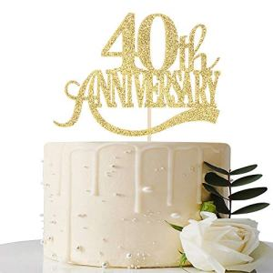 Gold Glitter 40th Anniversary Cake Topper – for 40th Wedding Anniversary / 40th Anniversary Party / 40th Birthday Party Decorations 51jRI6kl0iL