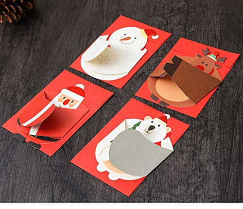 Christmas Cards 4 pcs Merry Christmas Card Santa Claus Snowman Folding Message Card With Envelope Christmas New Year Blessing Greeting Gift Card