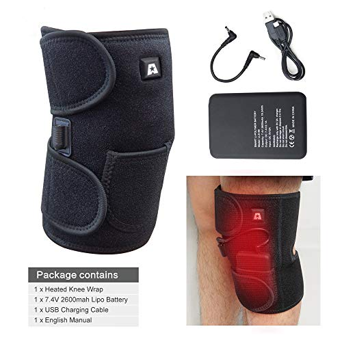 Heated Knee Brace Wrap Support/Therapeutic Electric Heating Pad W/Rechargable 7.4V 2600Mah Battery for Joint Pain, Arthritis Meniscus Pain Relief (3 Temperature Setting) by Arris (1PCS)