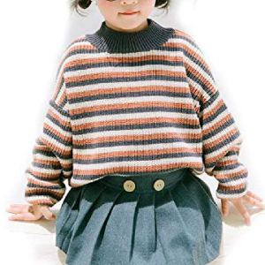 BCVHGD Autumn Winter Baby Girls Loose Striped Woolen Sweaters Kids Long Sleeve Sweater Children Clothes Tops