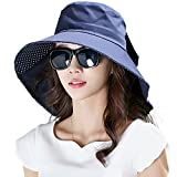 Siggi Womens Wide Brim Summer Sun Flap Bill Cap Cotton Hat Neck Cover UPF 50+ Navy