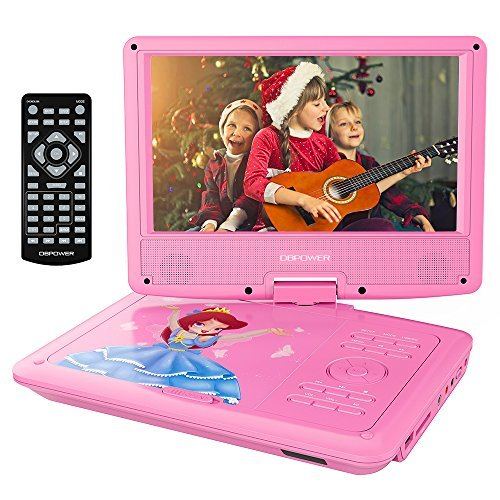 DBPOWER 9' Portable DVD Player with Rechargeable Battery, Swivel Screen, SD Card Slot and USB Port, with 1.8M Car Charger and 1.8M Power Adaptor (Pink)