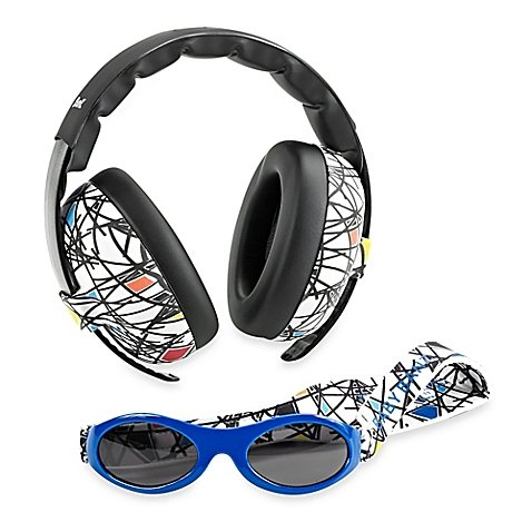 Baby Banz Earmuffs Infant and Toddler Hearing Protection Headphones - Packaged with BANZ Sunglasses Ages 0-2 Years - Ultimate Child Ear and Eye Protection - Stop Noise - Block Sun (Squiggle)