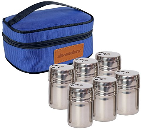 Portable Stainless Steel Spice Shaker Seasoning Dispenser - 6 Pc Set with Rotating Lids and Travel Bag| Spice Jars - Salt and Pepper Shakers - Dry Herb Spice Condiment Dispenser | Camping | BBQ