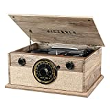 Victrola 4-in-1 Cambridge Farmhouse Modern Bluetooth Turntable with FM Radio