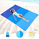 KeShi Sand Free Beach Mat, Quick Drying Ripstop Nylon Lightweight Compact Portable Outdoor Picnic Beach Blanket Best Sand Proof Picnic Mat for Travel, Camping, Hiking and Music Festivals(82' X79')