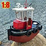 FidgetKute 1:18 RC Tugboat Rescue Simulation ABS Wooden Boat Model Ship DIY Kit Kids Gift