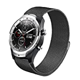 LeafBoat Compatible Ticwatch pro Band/Galaxy Watch 46mm,22mm Magnetic Milanese Loop Stainless Steel Magnet Lock Band Compatible Gear S3 Frontier/Classic Smart Watch/Galaxy Watch 46mm (Black)