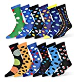 Robert Shweitzer Mens Fun Funky and Colorful Patterned Dress Socks with Cool and Crazy Designs -'12 Pack' (Collection C)