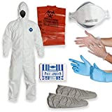 DuPont Tyvek Coverall Suit (LARGE) with Multipurpose Cleanup Kit including 3M 9210 N95 Respirator Mask, Shoe Covers, Polyethylene Apron, 2 Pair of Protective Gloves, Biohazard Disposal Bag, TY127S