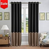 NICETOWN Block Color Blackout Curtains - Mix and Match Thermal Insulated Eyelet Top Blackout Curtain Panels for Sliding Door (1 Pair,52 by 95',Black & Taupe)