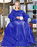 Fleece Wearable Blanket with Sleeves and Front Pocket for Women Men, Super Soft Microplush Adult Comfy Throw with Sleeves for Lounge Couch Reading Watching TV 73' x 51' Blue