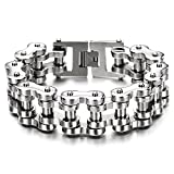 COOLSTEELANDBEYOND Men Heavy Sturdy Bike Chain Motorcycle Chain Bracelet of Stainless Steel, Silver Color Polished