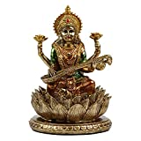 6.3' H Saraswati Sitting on Lotus Figurines in Antique Gold,Hindu God Staute for Meditation Altar Indian Gods and Goddesses,Indian Saraswati Idol for Diwali Gifts/Inidian Home Temple/Mandir
