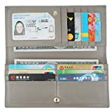 Lavemi RFID Blocking Ultra Slim Real Leather Credit Card Holder Clutch Wallets for Women(Gray)