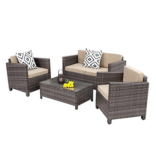 Galvanized Patio Furniture.Wisteria Lane Outdoor Patio Furniture Set 5 Piece Rattan Wicker Sofa Cushioned With Coffee Table Grey Wicker Dustin A Purtan