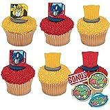 Bundle of Fun Transformers Autobot Protectors Cupcake Rings Cupcake Toppers and Bonus Ring - 25 Piece