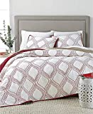 Martha Stewart Collection Gramercy Gate Full Queen Cotton Reversible Quilt Red White