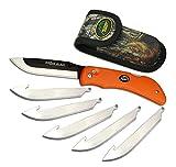Outdoor Edge RazorBlaze, RB-20, 3.5' Replaceable Blade Folding Hunting Knife, Non-Slip Rubberized TPR Handle, Mossy Oak Nylon Sheath (Blaze Orange)