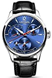 Men's Automatic Mechanical Watch Date Moon Phase 24-Hour Indication Calfskin Leather Transparent Watches (8762- Silver Blue)
