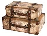 Product review for Vintiquewise(TM) Old World Map Leather Vintage Style Suitcase with Straps, Set of 2