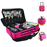 "Makeup Bags Travel Large Makeup Case 16.5"" Professional Makeup Train Case 3 Layer Cosmetic Bag Makeup Artist Organizer Brush Holder Storage with Shoulder Strap and Dividers (Large Hot Pink)"
