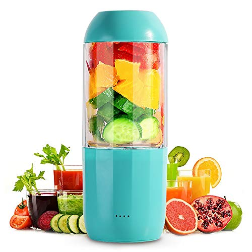 ENKLOV Personal Portable Blender Gift, Travel Blender Cup with USB Rechargeable Small Blender for Shakes and Smoothies-Six Blades in 3D, 380ml Fruit Mixing Machine with 6000mAh Rechargeable Batteries, Detachable Cup, Perfect Blender for Personal Use (BPA Free)