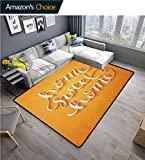 Home Sweet Home Polka Dot Area Rug Non Slip Pad, Hand Writing Style Calligraphy Contemporary Design Housewarming Theme, Fashionable High Class Living Bedroom Rugs(2.5'x 9') Marigold White