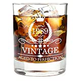 1989 30th Birthday Gifts for Men and Women Premium Whiskey Glasses - Vintage Funny 30 Years Gifts Ideas for Dad, Mom, Husband, Wife - Anniversary Gift, Party Favors, Decorations for Him or Her - 11oz