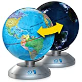 Discovery Kids 2-in-1 World Globe LED Lamp w/ Day & Night Modes, STEM Geography Map Educational Toy for Children, Solar System, Light Up Cities and Countries, Rotating w/ Display Stand