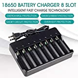 18650 Battery Charger 8 Bay for Rechargeable Batteries and Universal Smart Battery Charger for 18650 26650 14500 16340 18500 10440 18350 17670 AAA AA Li-Ion Intellicharge Charger (Batteries Not Includ
