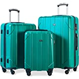 Merax 3 Piece P.E.T Luggage Set Eco-friendly Light Weight Spinner Suitcase (Green)