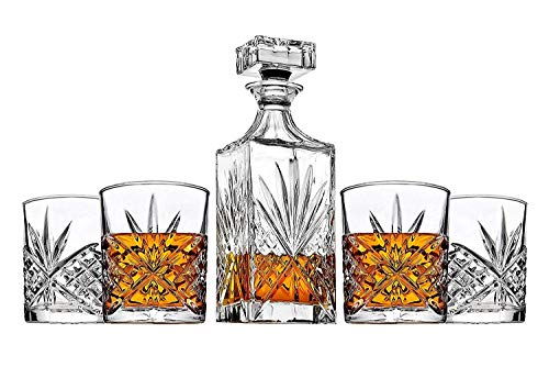 James Scott 5 PC crystal Bar Set, for Whiskey, Wine, and Liquor. This Irish Cut whiskey Set, includes a Decanter 750ml with Glass Stopper, and 4 x 11 oz. DOF Glasses-Packaged in a Beautiful Gift Box