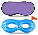 Fitglam Pure Silk Sleep Mask + Reusable Cold / Hot Therapy SPA Gel Eye Mask Set - Improve Sleeping, Alleviate Puffy, Swollen Eyes, Fatigue, Headache and Tension (Lavender)