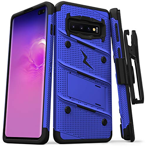 Zizo Bolt Series Compatible with Galaxy S10 Plus Case Military Grade Drop Tested with Built in Kickstand Holster Blue Black