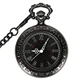 Product review of WIOR Black Pocket Watch Roman Pattern Steampunk Retro Vintage Quartz Roman Numerals Pocket Watch with 14.5 in Chain for Xmas Birthday Fathers Day Gift